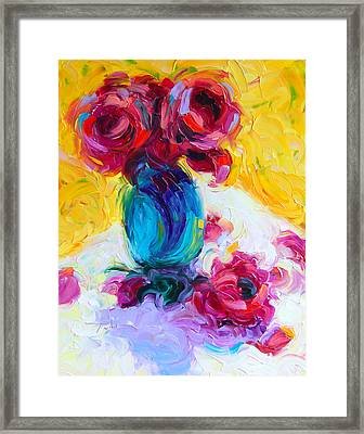 Framed Print featuring the painting Just Past Bloom - Roses Still Life by Talya Johnson