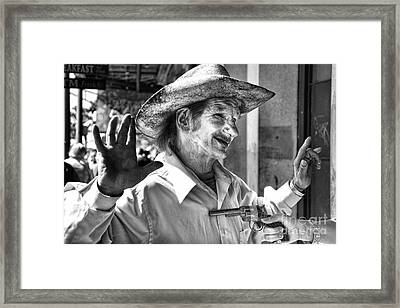 Just Shoot Me Said The Cowboy- Black And White Framed Print by Kathleen K Parker