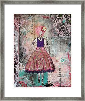 Just Smile Unique Abstract Mixed Media Artwork Framed Print by Janelle Nichol
