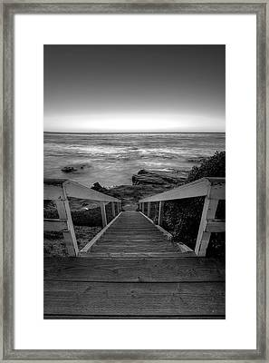 Just Steps To The Sea    Black And White Framed Print by Peter Tellone