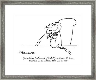 Just Tell Framed Print by Charles Barsotti