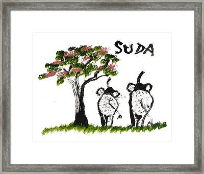 Prints - Elephant Paintings - Just The Two Of Us Pink Version Framed Print