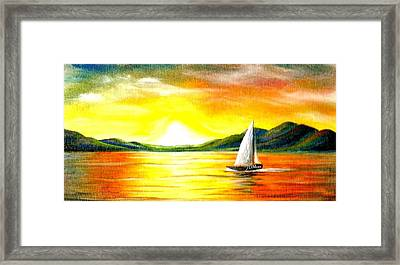 Justa Sailing Framed Print by Janet Moss