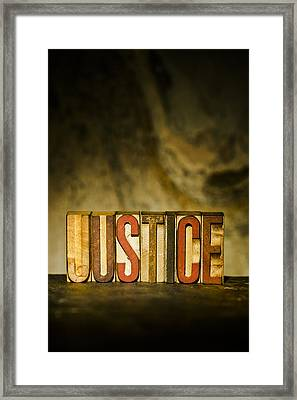Justice Antique Letterpress Printing Blocks Framed Print