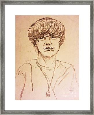 Justin Bieber 1 Framed Print by Esther Rowden