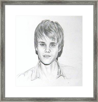 Framed Print featuring the drawing Justin Bieber by Lori Ippolito