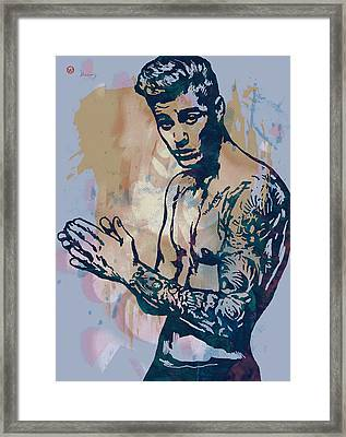 Justin Bieber Pop Art Etching Portrait Framed Print by Kim Wang