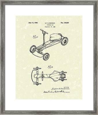 Juvenile Car 1940 Patent Art Framed Print