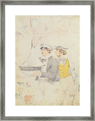 Juvenile Members Of The Yacht Club, 1853 Wc & Graphite On Paper Framed Print by Richard Dadd