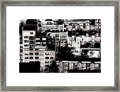 Framed Print featuring the photograph Black And White - Juxtaposed And Intimate Vancouver View At Night - Fineart Cards by Amyn Nasser