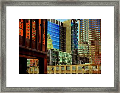 Juxtaposition Of Pittsburgh Buildings Framed Print