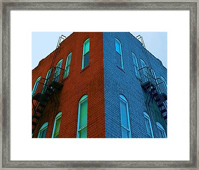 Framed Print featuring the photograph Juxtaposition - Old Building by Denise Beverly