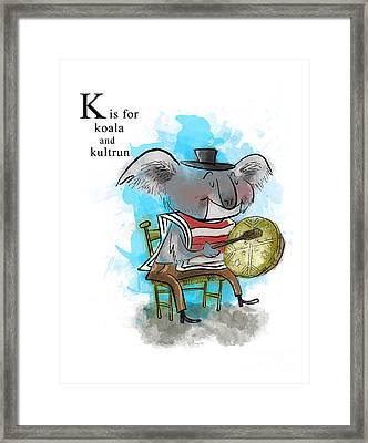 K Is For Koala Framed Print by Sean Hagan
