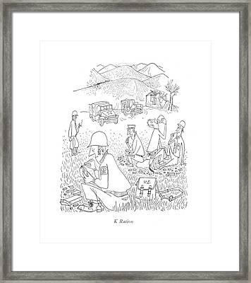 K Ration Framed Print by Saul Steinberg