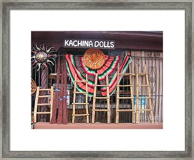 Framed Print featuring the photograph Kachina Dolls Local Store Front by Dora Sofia Caputo Photographic Art and Design
