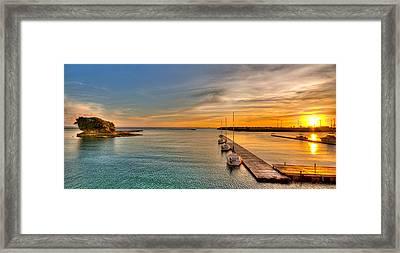 Kadena Marina Sunset Framed Print by Chris Rose