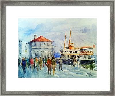 Kadikoy Ferry Arrives Framed Print