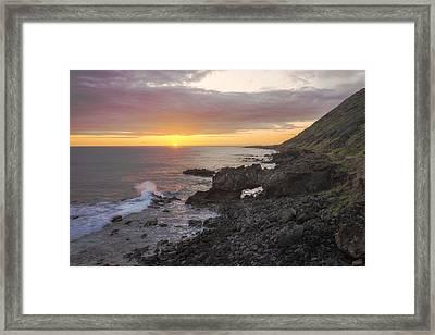 Kaena Point Sea Arch Sunset - Oahu Hawaii Framed Print by Brian Harig