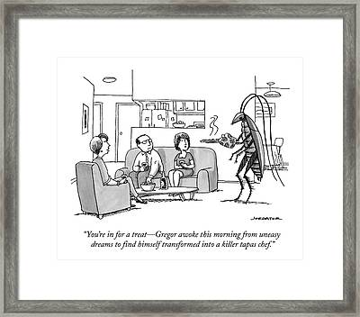 Kafka-esque Bug Serves A Steaming Tray Framed Print by Joe Dator