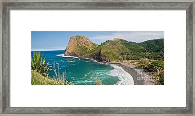 Kahakalua Bay Panorama Framed Print by Jim Chamberlain