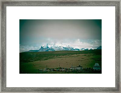 Kailas Mountain Home Of The Lord Shiva View From Manasarovar Framed Print by Raimond Klavins