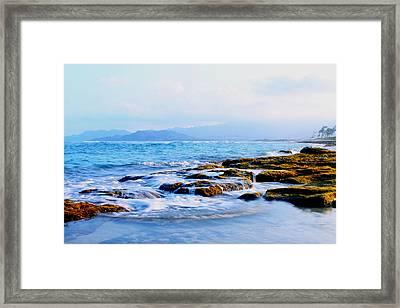 Kailua Bay Shoreline Framed Print by Saya Studios