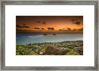Kailua Bay Sunrise Framed Print by Tin Lung Chao
