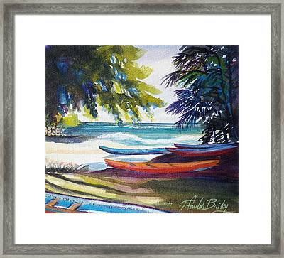 Kailua Beach Canoes Sold Framed Print by Therese Fowler-Bailey