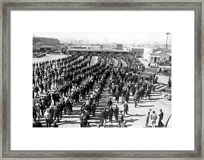 Kaiser Shipyard Workers Framed Print by Underwood Archives