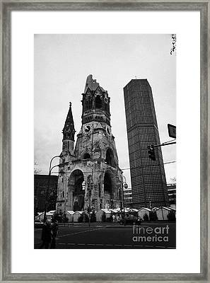 Kaiser Wilhelm Gedachtniskirche Memorial Church New Bell Tower And Christmas Market Berlin Germany Framed Print by Joe Fox