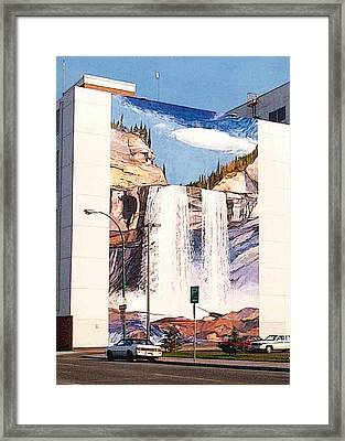Framed Print featuring the painting Kakwa Falls Mural  by Tim  Heimdal