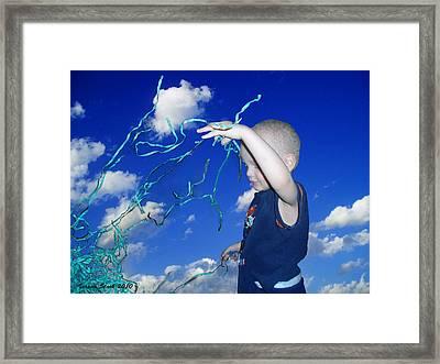 Kaleb Takes Over The World Framed Print