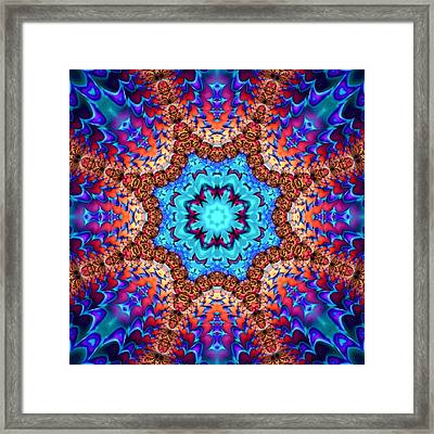 Kaleidoscope Art Wonderful Blue Red And Brown Colors Framed Print by Matthias Hauser