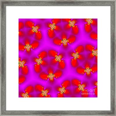 Kaleidoscope Of Red Flowers Framed Print by Renee Trenholm