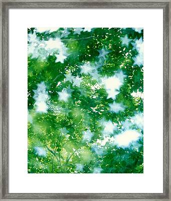 Kaleidoscopic Scene With White Stars Framed Print