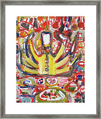 Kali-chef Fighting For The Perfect Omelet Framed Print by Fabrizio Cassetta