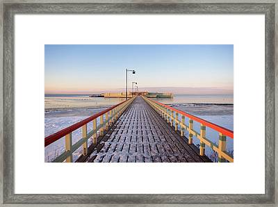 Kallbadhuset Pier At Dusk Framed Print by Secablue