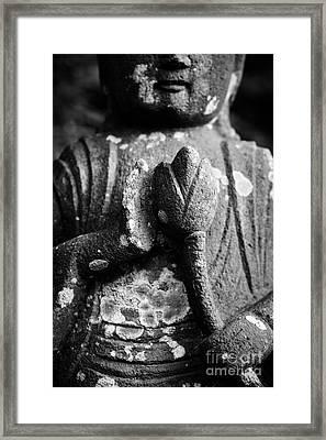 Kamakura Buddha Iv - Buddha Holding Lotus Flower Framed Print by Dean Harte