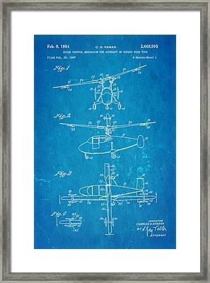Kaman Rotor Control Patent Art 1954 Blueprint Framed Print by Ian Monk