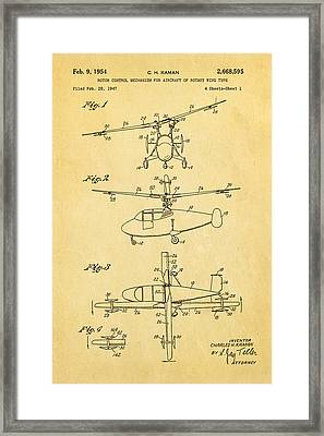 Kaman Rotor Control Patent Art 1954 Framed Print by Ian Monk