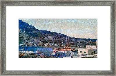 Kamares Port Framed Print by Laurence Canter