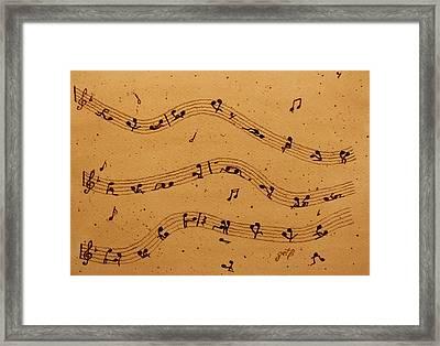 Kamasutra Music Coffee Painting Framed Print by Georgeta  Blanaru