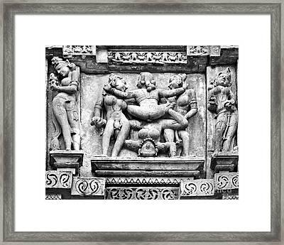 Kamasutra Scene In Khajuraho - India Framed Print