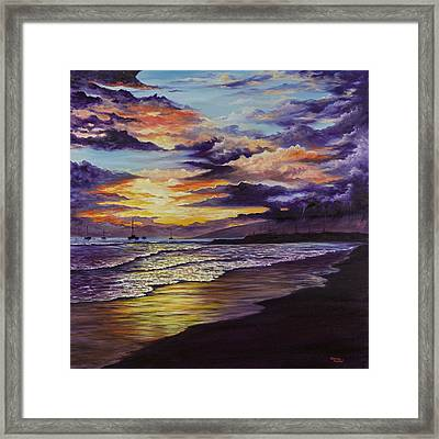 Framed Print featuring the painting Kamehameha Iki Park Sunset by Darice Machel McGuire