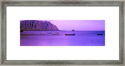Kaneohe Bay At Sunset, Oahu, Hawaii, Usa Framed Print by Panoramic Images
