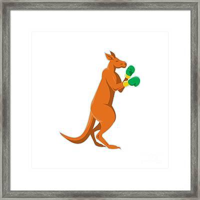 Kangaroo Boxer Boxing Retro Framed Print by Retro Vectors