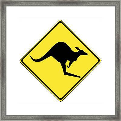 Kangaroo Crossing Sign Framed Print by Marvin Blaine