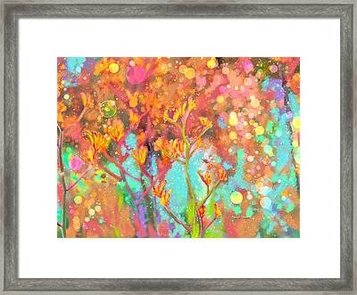 Kangaroo Flower In Spring Bubbles Framed Print by Angela A Stanton