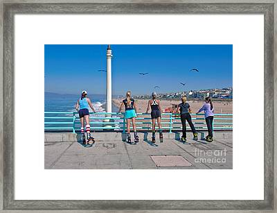 Kangaroo Shoes Girls And Birds Framed Print by David Zanzinger