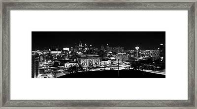 Kansas City In Black And White Framed Print